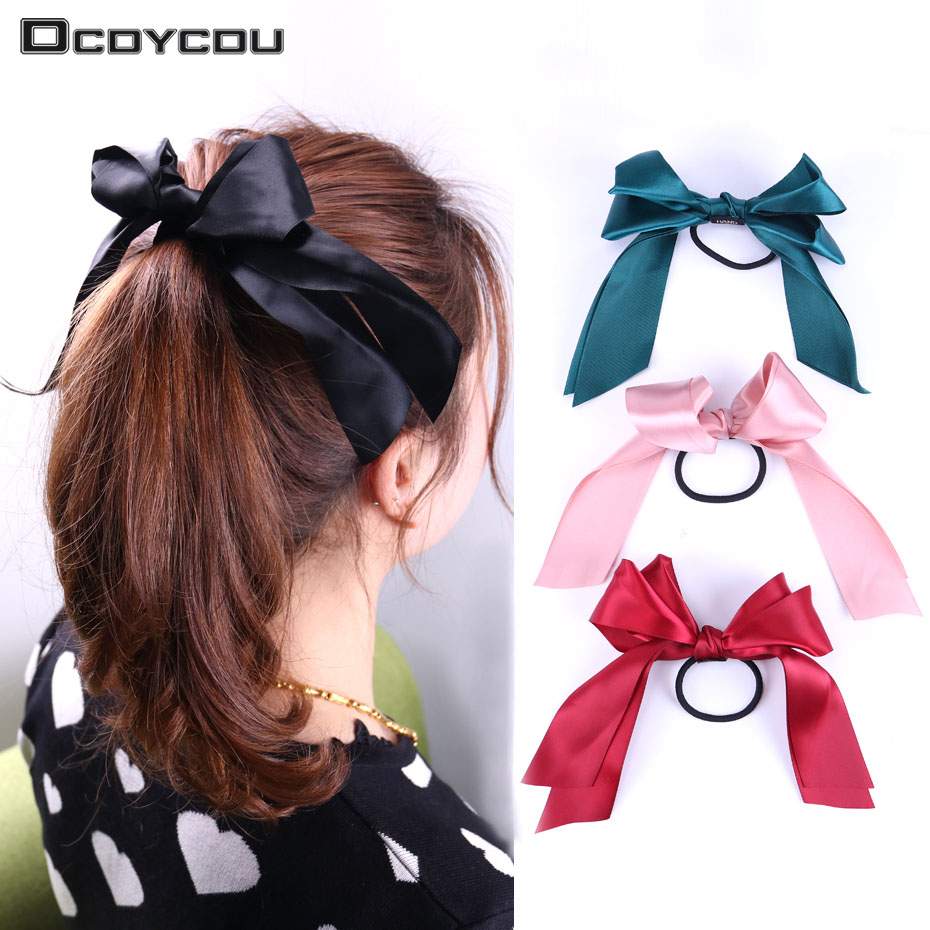 1PC Fashion Women Chinese Style Tiara Satin Ribbon Bow Hair Band Ponytail Hair Rope Accessories Hairstyle Girl Headbands