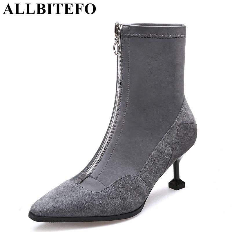 Allbitefo/Модная брендовая натуральная кожа + стрейч материал с острым носком на среднем каблуке Женские ботинки смешанные цвета на тонком кабл...