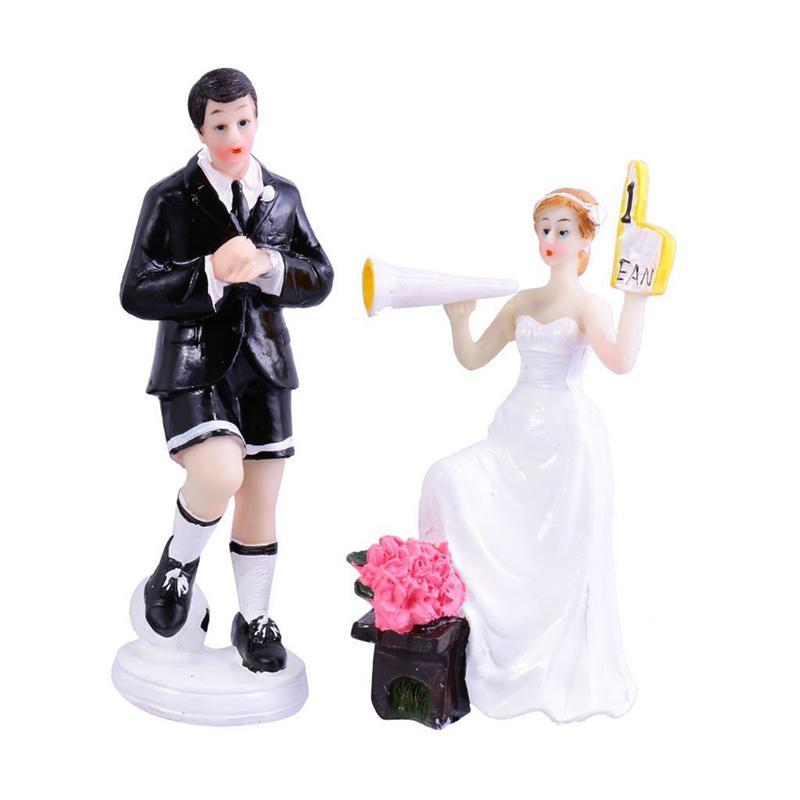 Soccer Wedding Ideas: Pair Of Soccer Theme Wedding Cake Topper Decoration Resin