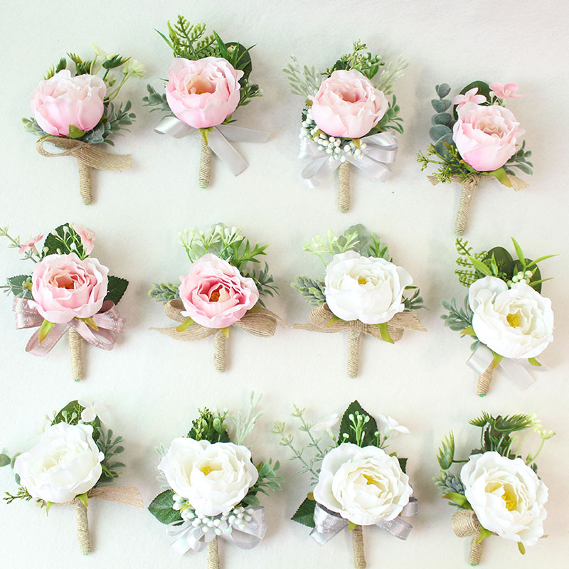 white pink roses Wedding Marriage Rose Wrist Corsage boutonnieres  (1)