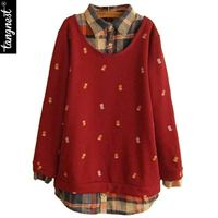 2014 New Autumn Winter Sweater Women Winter Casual Fashion Knitted Little Pineapple Pattern Fake Two Pieces