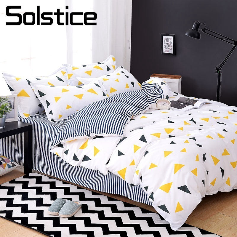 Solstice Home Textile 3/4Pcs King Full Bedding Set Boy Kid Teen Girl Bed Linen Triangle Stripe Duvet Cover Flat Sheet Pillowcase