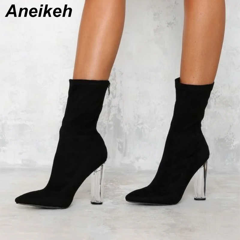 e9d30cb72d Aneikeh Women's Boots Pointed Toe Yarn Elastic Ankle Boots Thick Heel High  Heels Shoes Female Transparent Heel Boots Black
