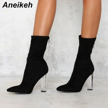 Aneikeh Women's Boots Pointed Toe Yarn Elastic Ankle Boots Thick Heel High Heels Shoes Female Transparent Heel Boots Black