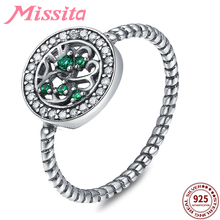MISSITA Natrual Life Green Tree 925 Sterling Silver Rings for Women Wedding with Zircon Brand Jewelry anillos mujer