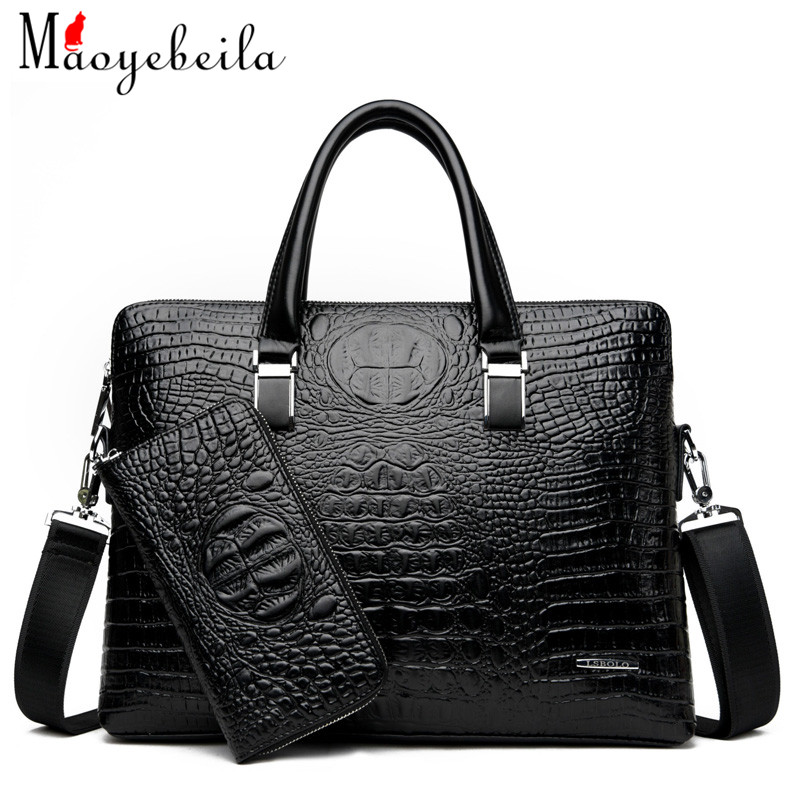 New Men'S Bag Fashionable Business Crocodile Grain Handbag Single-Shoulder Briefcase High Quality Computer Gift Bag