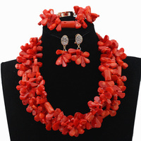 Costume African Jewelry Sets Pink Coral Beads Jewelry Set Wedding Jewelry Set Free Shipping CJ436