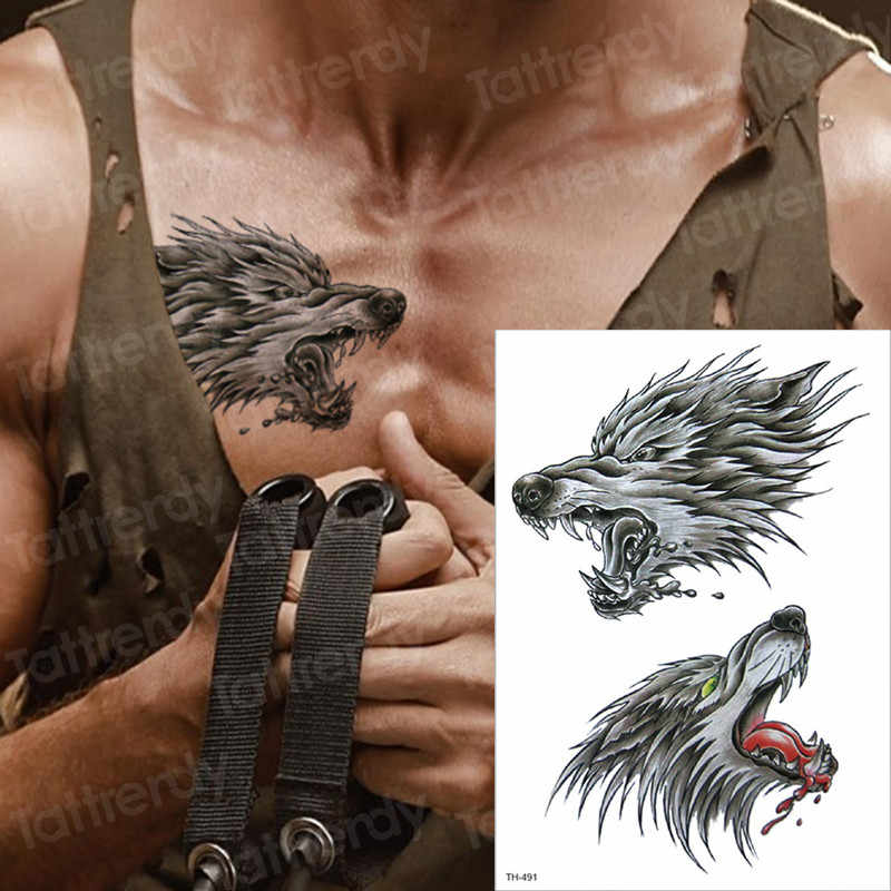 9be717c27 tattoo temporary arm wolf skull temporary chest tattoos mens chest tattoos  motorcycle skull tattoo stickers tatoo