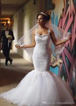 Good Quality Sexy Transparent Back Mermaid Wedding Dress Spaghetti Straps Applique Beading Bridal Gowns NM 456