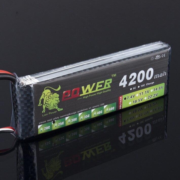 1 pcs LION PUISSANCE 7.4 V 4200 mAh 25C 2 S LiPo Batterie Avec T Plug pour RC Voiture Avion Hélicoptère 7.4 V 4200 mah 2 S Lipo Batterie