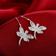 2020 New Arrivals 925 Silver Color Jewelry Women Fashion Cute Tiny 3.2*1.9CM Dragonfly Drop Earrings Gift For Girls Kids Lady anslow fashion jewelry new arrivals items dragonfly antique silver plated leather earring for woman mothe s day gift low0095ae
