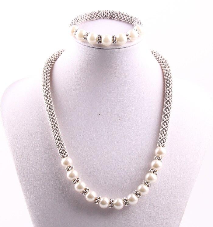 MOODPC Livraison gratuite 10mm beige perle avec maille perles Collier et bracelet ensembles de Bijoux de dames
