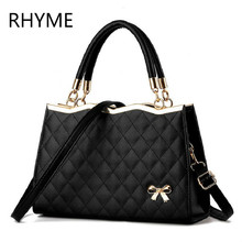 RHYME Women Lingge Handbag Pattern Bow Shoulder Bags Female Messenger Bolso Pu Leather Sac Ladies Crossbody Borsa