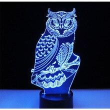 3D светодио дный светодиодные ночники духовная сова с 7 цветов свет для украшения дома лампы удивительный визуализации Оптические иллюзии Awesome
