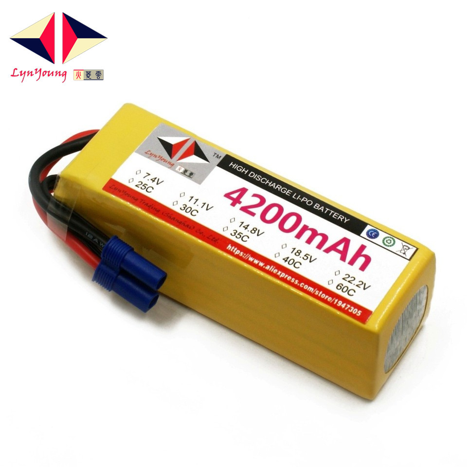 LYNYOUNG 18.5V Lipo Battery 5S 4200mAh 40C For RC Drone Helicopter Quadcopter Airplane Car boat
