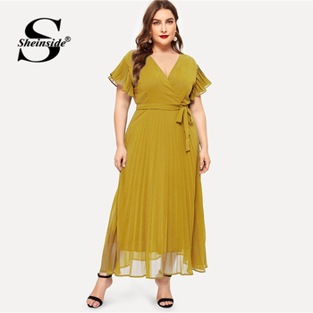 Sheinside Plus Size Elegant V Neck Belted Dress Women 2019 Summer High Waist Chiffon Dresses Ladies Solid Flounce Sleeve Dress