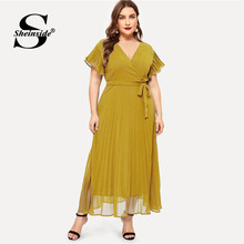 Sheinside Plus Size Elegant V Neck Belted Dress Women 2019 Summer High Waist Chiffon Dresses Ladies Solid Flounce Sleeve Dress(China)