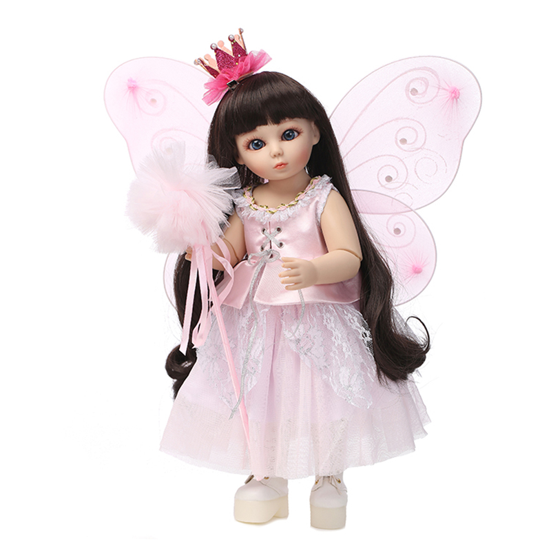 New Arrival 1/4 BJD Girl Doll 45cm 18 inch Fairy Angel Wings Doll Pink Princess Dress Fashion Doll Toys for Girls Xmas Gifts 18 inch girl doll plastic toy dolls for girls birthday gifts toys 45cm princess dolls handmade bjd doll with dress brown eyes