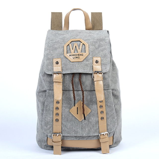 New Women Preppy Style Rivet Canvas Backpack Female Letter Printing Backpack Teenagers Students Belts Backpack Back to School