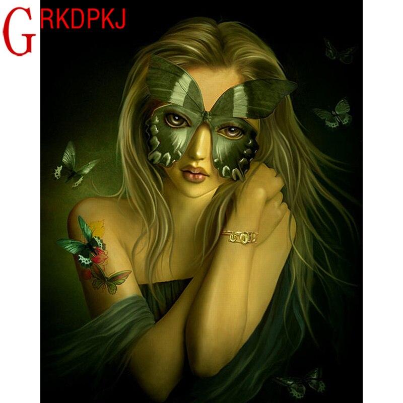 5D Diy Вышивка крестиком бабочка маска красота алмазная вышивка домашнее украшение