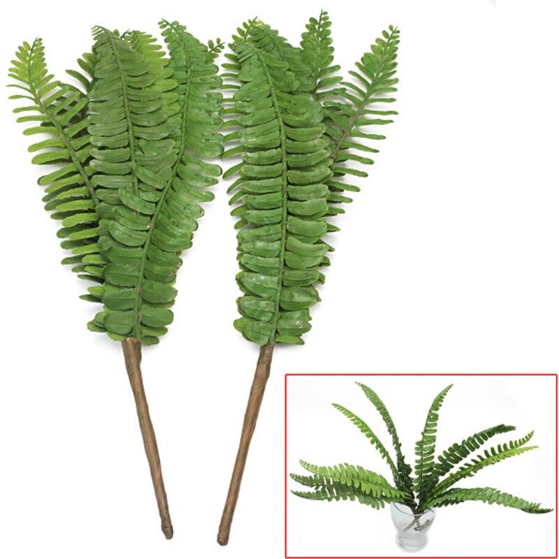 2pcs 6 stems green plastic artificial fern fake plant leaves foliage