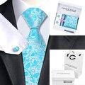 2016 Conjuntos Gravata de Seda Floral Azul Cavalheiro Laços Dos Homens de Bolso praça Abotoaduras com Caixa Branca Saco de Seda Laços Para Homens B-1172