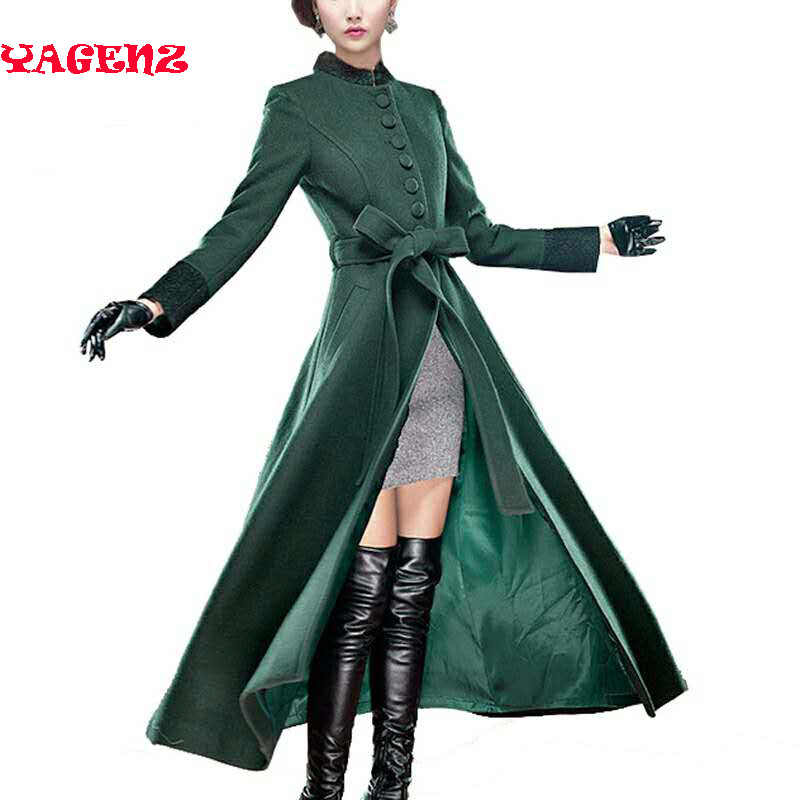 winter coats High-grade womens 2019 winter High quality autumn and winter Ultra long wool coat slim cashmere woolen overcoat