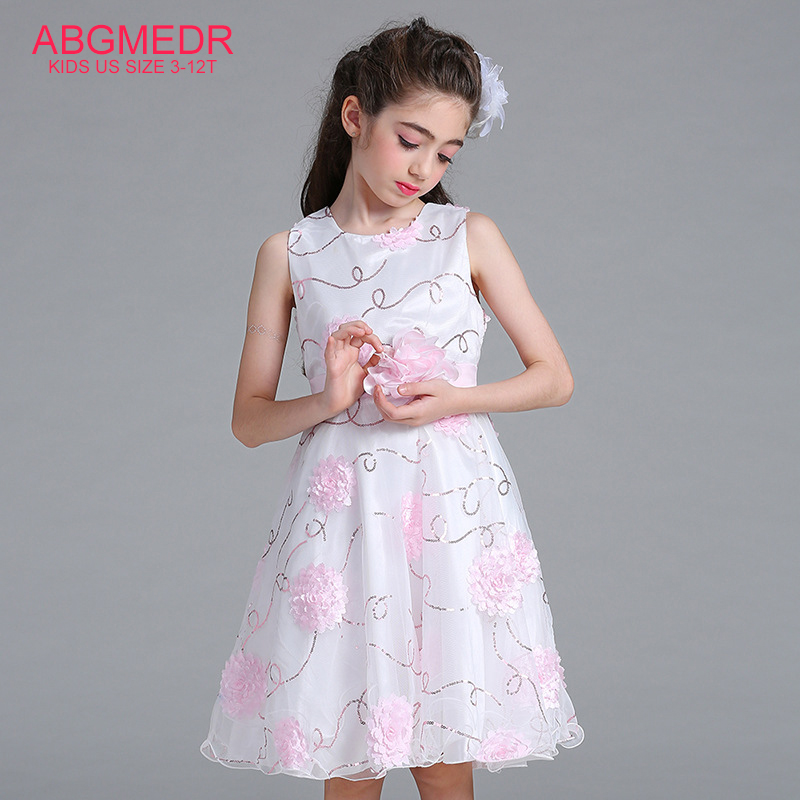 Flower Girls Dresses 2017 New Style Girl Princess Dress Children Sleeveless Dress for Wedding and Party Monsoon Kids Clothes