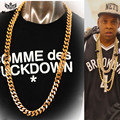 "Amazing 24"" /39"" 18mm Super Chain Jay-Z  Heavy Cuban Link Curb Chain 24K Gold Plated Long Hiphop Flat Chain Star Style 600gram"