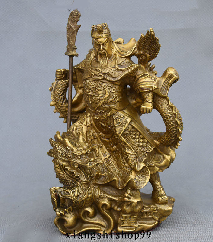 Crafts statue Famous Chinese Brass Brass Stand Dragon Warrior GuanGong GuanYu God Statue halloween