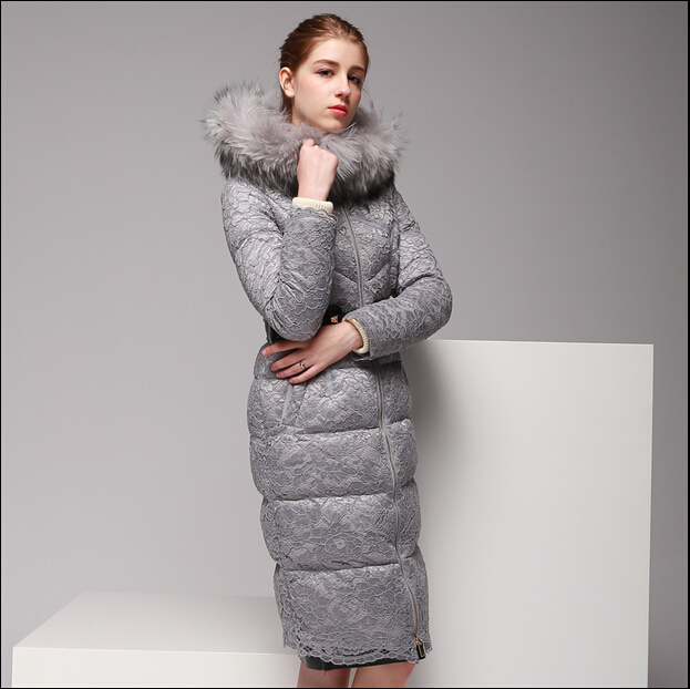 2016 new hot winter Thicken woman Down jacket Coats Parkas Outerwear Hooded Raccoon Fur collar long plus size 2XXL High end Lace цены онлайн