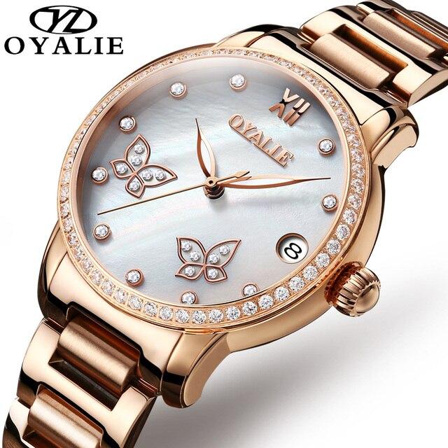 1b23f8c390bc OYALIE Butterfly Female Clock Women Watches Rose Gold Steel Strap Automatic  Mechanical Wristwatch Ladies Watch reloj mujer 9775