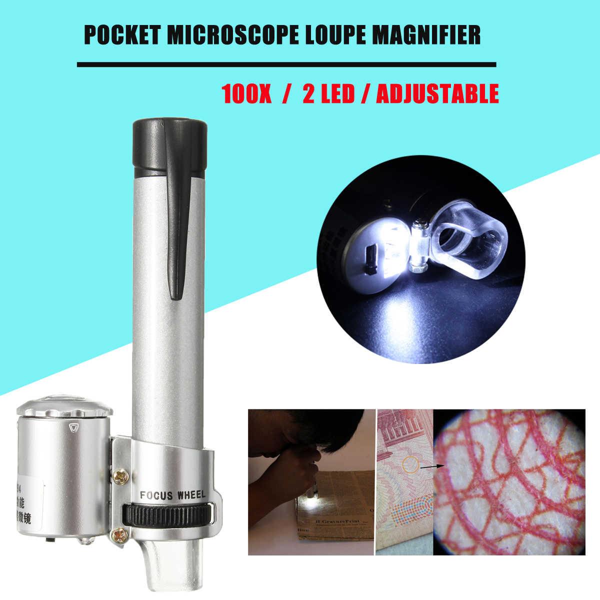 New Arrival 100X mikroskop do kieszeni waluta doprowadził światła biżuteria lupa lupa lupa srebrny wysokiej jakości
