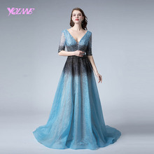 YQLNNE Gradient Long Evening Dress 2019 Blue Lace