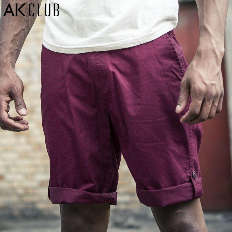 AK CLUB Brand Men Shorts Military Style Vintage Shorts Pants Casual Roll Hem 100% Cotton Short Pants For Men YKK Zipper 1514001 ...