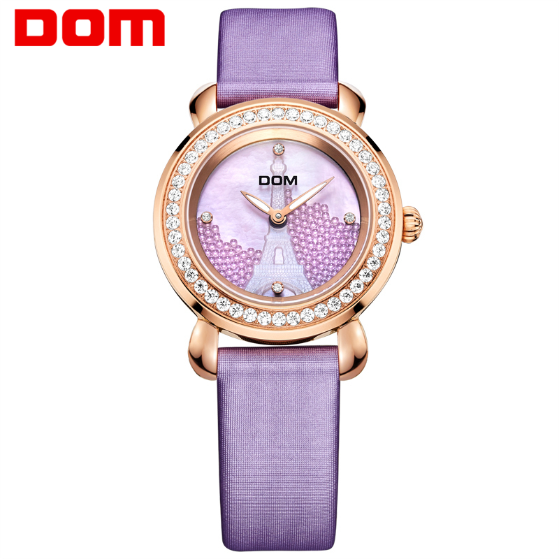 DOM Fashion Diamond Women Wristwatch Luxury Brand Watch Leather Waterprrof Reloj Hombre Marca De Lujo Ladies Watch Clock G-613 women vintage watch ladies lace printed analog leather quartz watch women 2016 brand luxury famous wristwatch reloj hombre