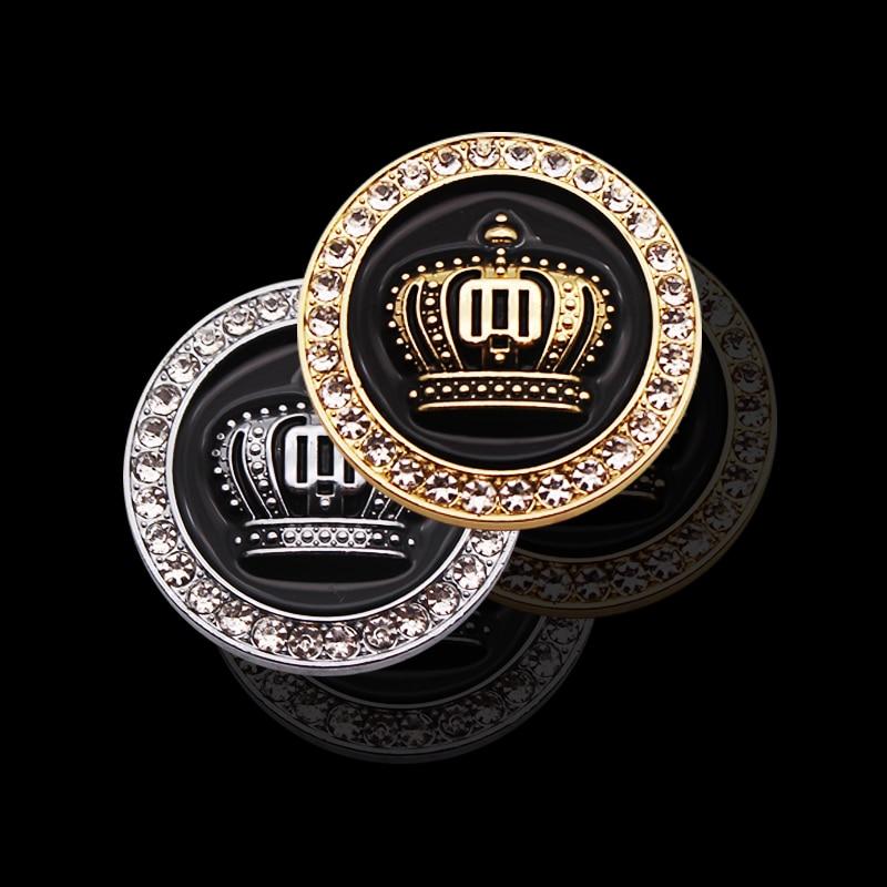 Fashion Car Decoration 3D Metal Crown Diamond Car Styling Car Sticker Auto Emblem Badge Logo Personality Accessories Gold Silver