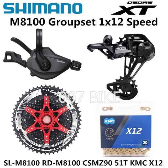SHIMANO DEORE XT M8100 مجموعة الدراجة الجبلية MTB 1x12 Speed CSMZ90 11 51T SL + RD + CSMZ90 + X12 M8100 محول خلفي Derailleur