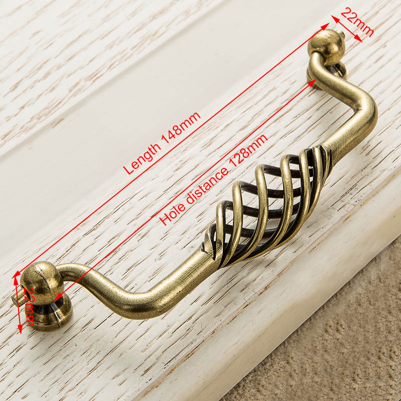 KAK винтажные антикварные бронзовые ручки для шкафа, полые ручки для птичьей клетки, ручки для выдвижных ящиков, Съемники дверей шкафа, Мебельная ручка - Цвет: 3201-128 Bronze
