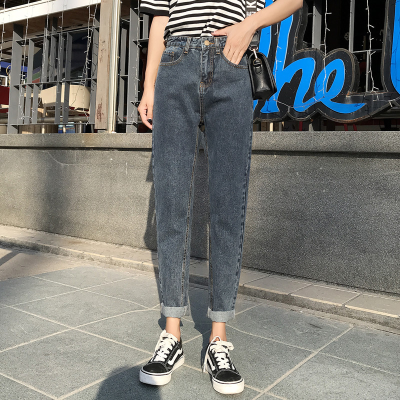 plus size women high waist boyfriend   jeans   for women mom   jeans   dropshipping 2019 new spring Cotton blue denim pant harem pants