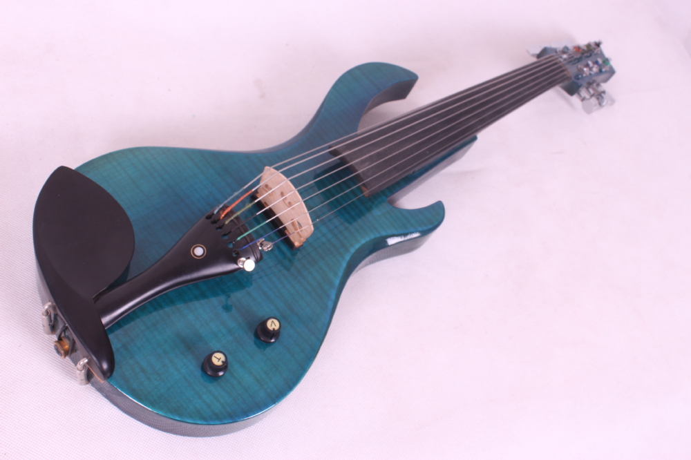 Cheap Price New 7 Strings 24 Fret Guitar Neck 4/4 Electric Violin Big Jack Blue Color Good For Energy And The Spleen