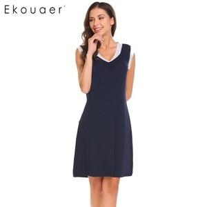 Image 2 - Ekouaer Sleepwear Womens Casual Cute Comfort Sleeveless Nightdress Summer Lace Patchwork O Neck Nightgown Tank Dress