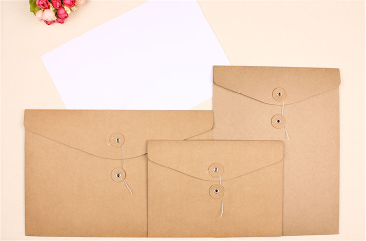 300 Pcs Blank A4 Thick Kraft Envelope,vertical A4 Paper Documents Bags Thick Kraft File Envelope Bags Horizontal