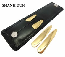 SHANH ZUN 4 Pcs Golden Stainless Steel Collar Stays Collar Points Bones For Dress Shirts in Portable Wallet Gift for Men shanh zun personalized customize engraved stainless steel metal collar bones shirt tabs stiffeners inserts golden gift for men