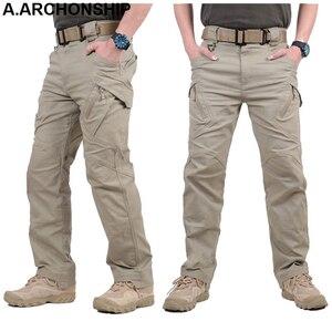 Image 3 - Мужские тактические брюки карго IX9, повседневные хлопковые брюки карго в стиле милитари, SWAT, 2017