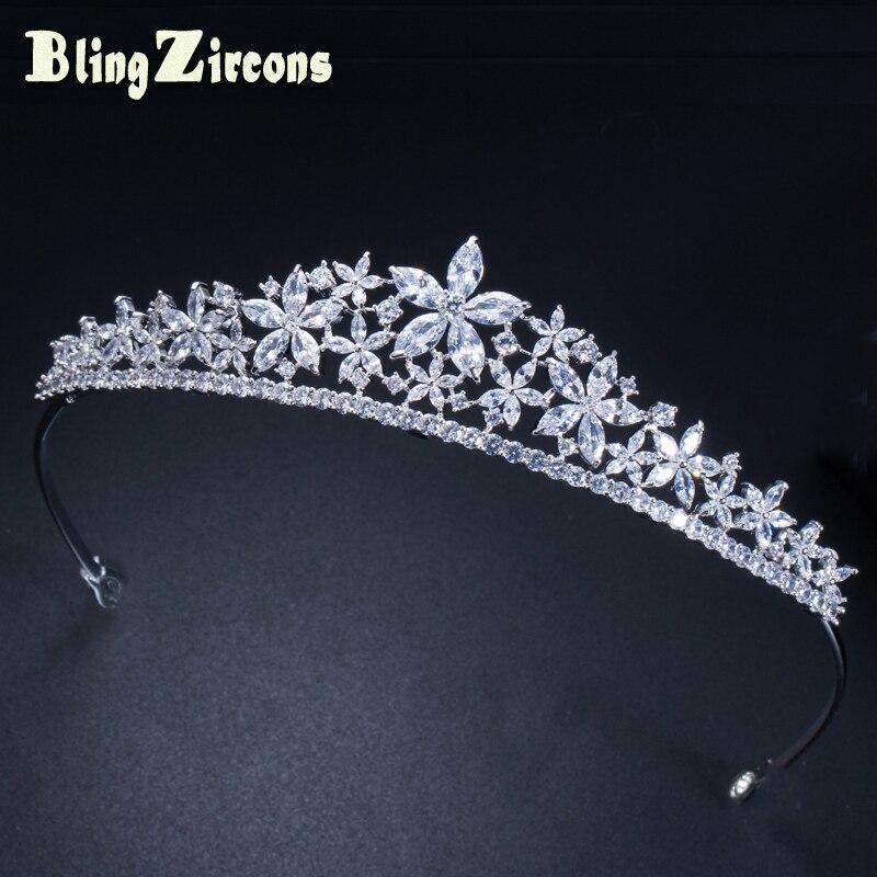 BeaQueen Luxurious Queen Tiara Crown Cubic Zirconia Bridal Wedding Hair Jewelry Accessories for Women Headdress Prom H001