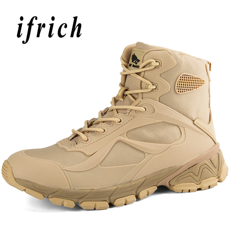 Image 5 - Brand Military Tactical Training Boots Black Beige Combat Boots  High Top Sneakers Original Desert Boots Men Working Safety ShoesWork