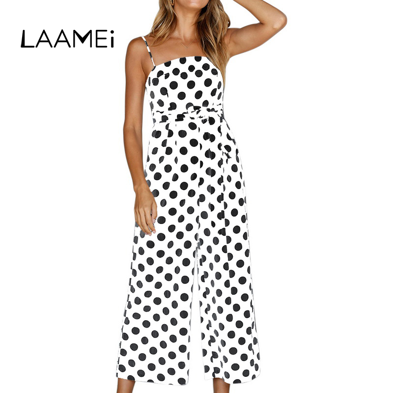 Laamei Printed Dot Jumpsuits Women Strap Bow Waist Body Woman Bodysuits Fashion Wide Leg Pant Playsuit Sleeveless Overalls Sexy ...