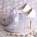 Wedopus Dropshipping Elegant Ladies' Summer Boots High Heeled Wedding Shoes White for Women