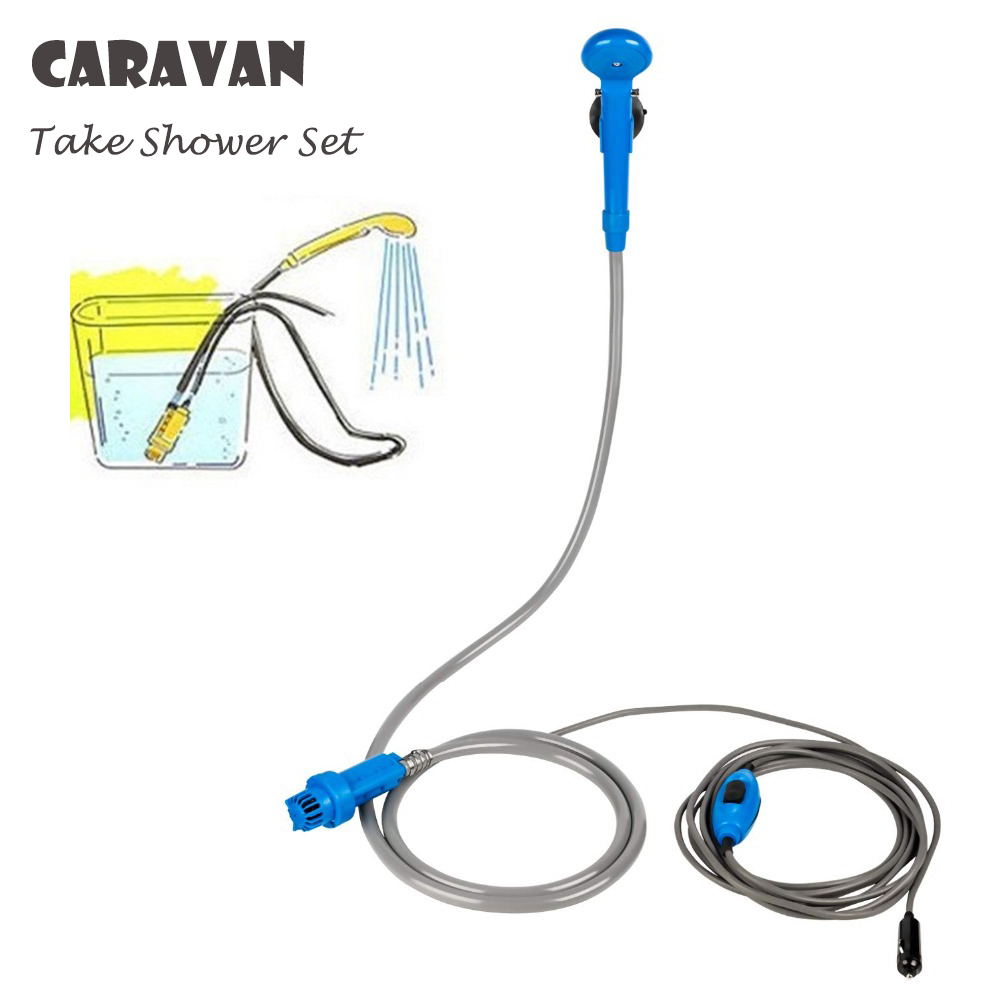 12V Caravan Accessories RV Camper Outdoor Shower Set Handheld Portable Washer Car Water Gun Pump Travel Pet Dog Take Shower Set